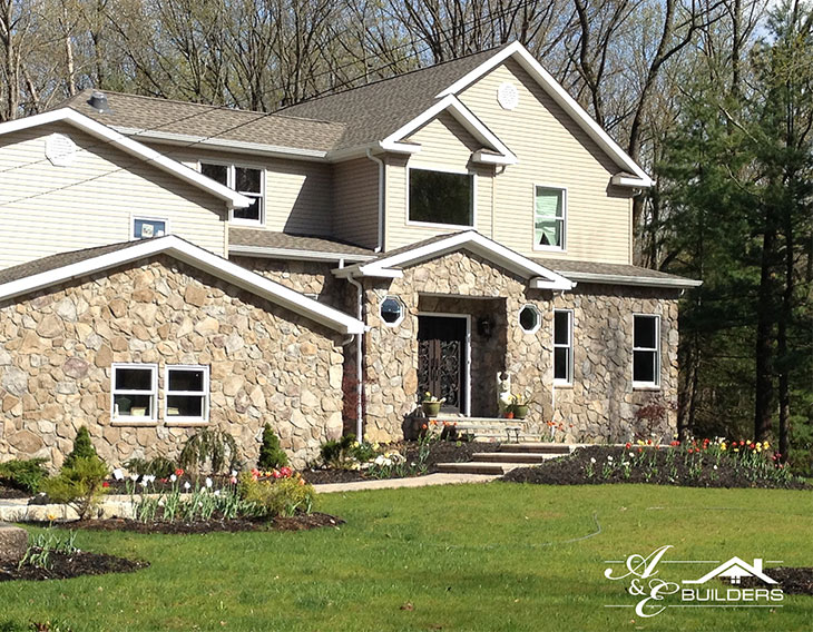 large contemporary stone sided home in new jersey