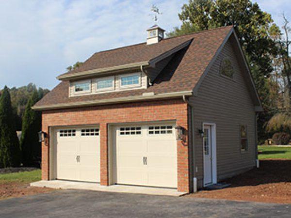 detached brick two car garage