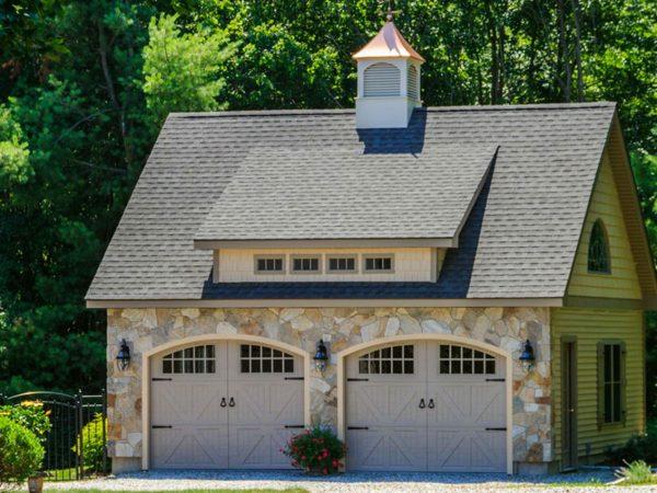 luxury stone and vinyl custom garage