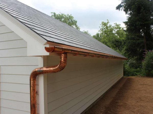 rustic copper gutters by home builders